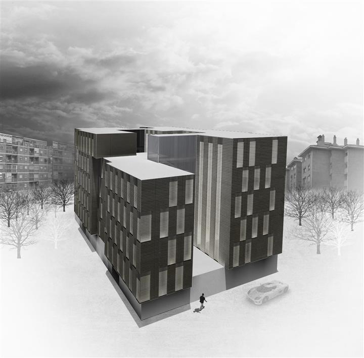 Vista elevada de la propuesta para VPO en Granada.