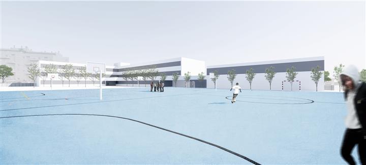 Vista desde las pistas deportivas de la propuesta