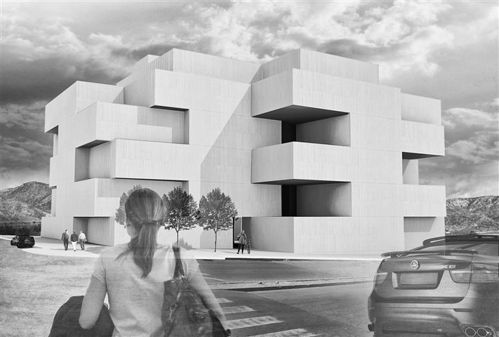 Vista exterior de la propuesta para un concurso de viviendas en Lorca.