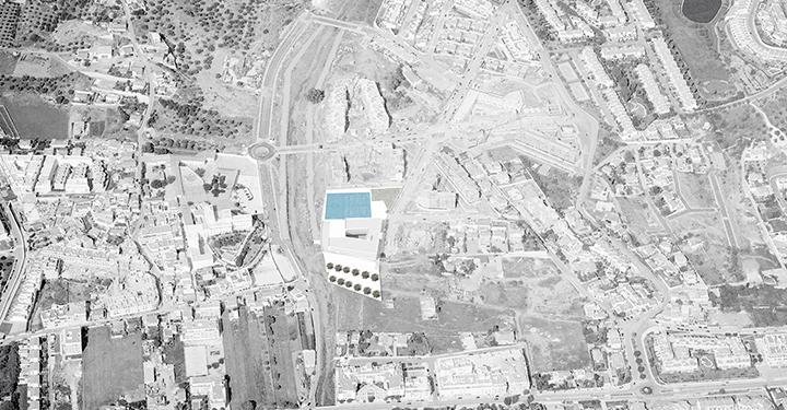 Imagen aerea con la implantación de la propuesta en la parcela.